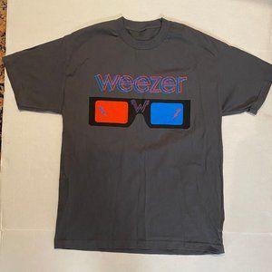 Vintage Weezer 3D Glasses Rock Band Gray T Shirt